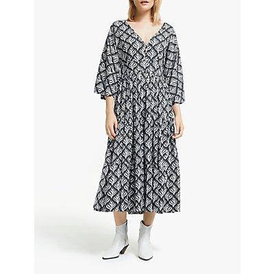 AND/OR La Galeria Elefante Kimono Feather Print Midi Dress, Ivory/Grey