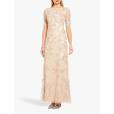 Adrianna Papell Beaded Column Gown, Nude