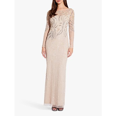 Adrianna Papell Beaded Sheath Gown, Biscotti