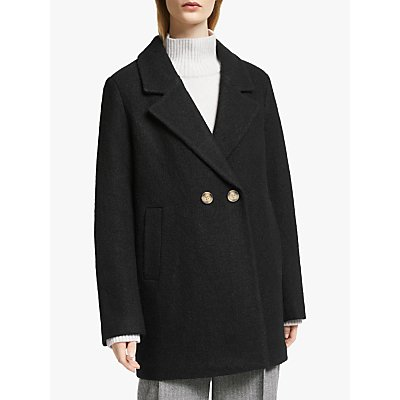 John Lewis & Partners Wool Blend Textured Pea Coat