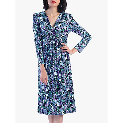 Jolie Moi Floral Twist Front Flared Dress, Purple