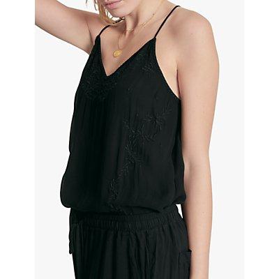 hush Orelle Embroidered Halterneck Cami Top, Black