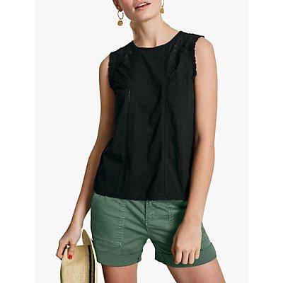 hush Lace Trim Cotton Jersey Sleeveless Top, Black