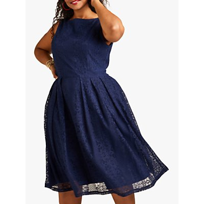 Yumi Curves Lace Pleated Dress, Navy