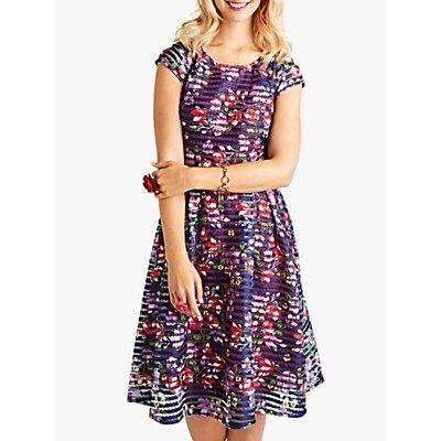 Yumi Spanish Floral Cap Sleeve Flared Dress, Dark Navy