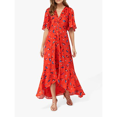 Monsoon Natalie Feather Print Dress, Red