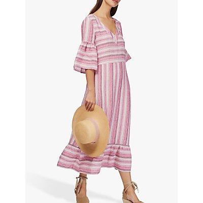 Brora Stripe Weave Linen Dress, Raspberry