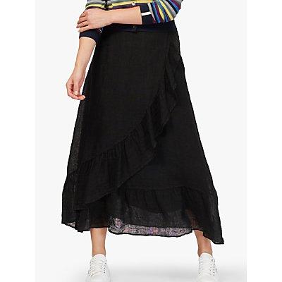 Brora Gauzy Linen Ruffle Midi Skirt