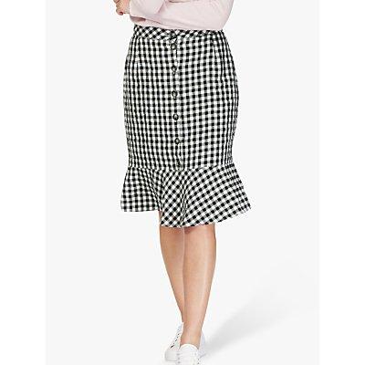 Brora Gingham Check Linen Skirt, Monochrome