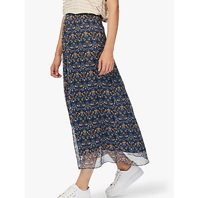 Brora Liberty Print Silk-Chiffon Skirt, Lapis Bird