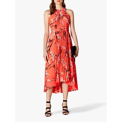 Karen Millen Pleated Floral Dress, Coral
