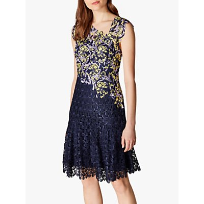 Karen Millen Asymmetric Lace Embroidery Dress, Multi