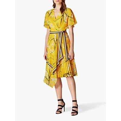 Karen Millen Pleated Floral Midi Dress, Yellow/Multi