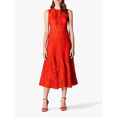 Karen Millen Ruffle Hem Dress, Coral