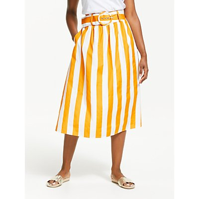 Boden Rebecca Cotton Midi Skirt, Yellow/Ivory