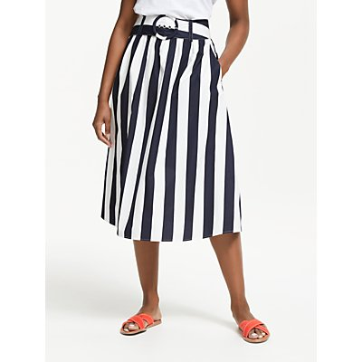 Boden Rebecca Cotton Midi Skirt, Navy/Ivory