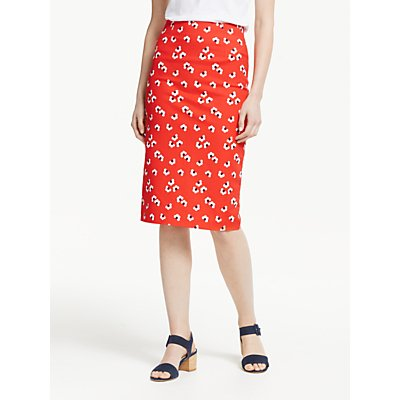 Boden Richmond Pencil Skirt, Red/Multi