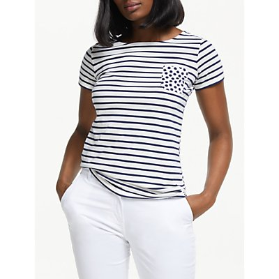 Boden Short Sleeve Spot Pocket Breton Stripe Top, Ivory