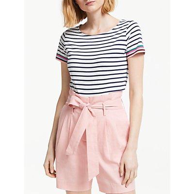 Boden Short Sleeve Breton Stripe Top, Ivory/Multi