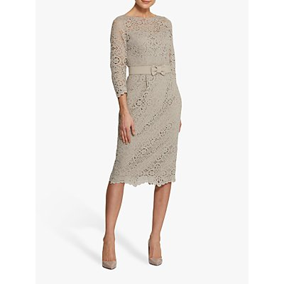 Helen McAlinden Michelle Lace Mink Midi Dress, Neutral Beige