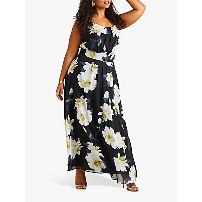 Yumi Curves Floral Maxi Dress, Black/Multi