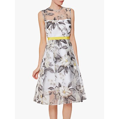 Gina Bacconi Fiora Floral Organza Occasion Dress, Grey/White