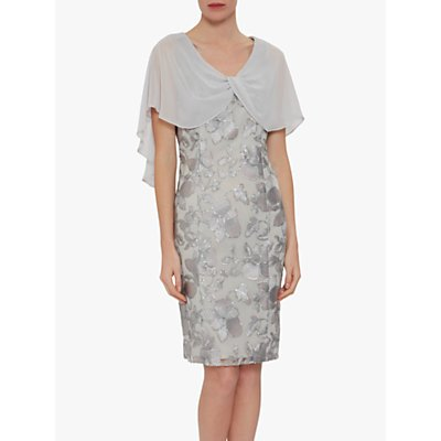 Gina Bacconi Bolina Embroidered Chiffon Overlay Dress, Grey/Silver