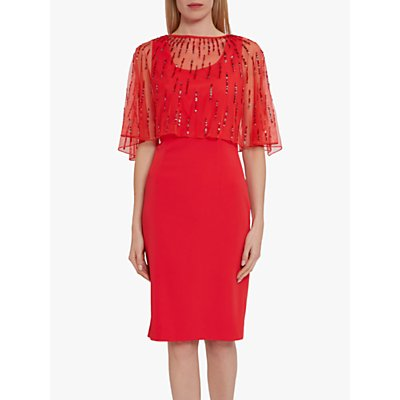 Gina Bacconi Roena Mesh Cape Dress