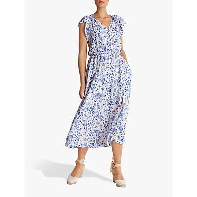 Fenn Wright Manson Sahara Animal and Flower Print Midi Dress, Blue/Multi