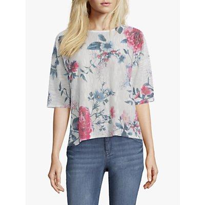 Betty & Co. Floral Blossom Print Three Quarter Sleeve Top, White/Blue