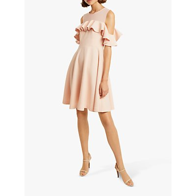 French Connection Alissia Flare Cold Shoulder Dress, Pink