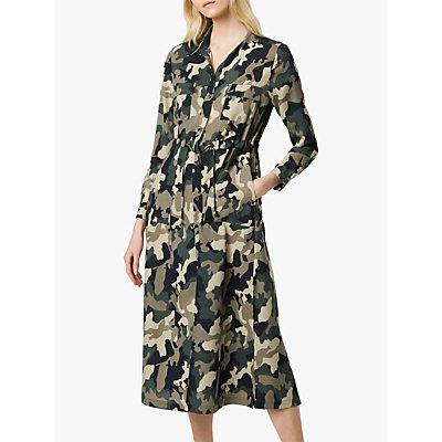 French Connection Camo Midi Shirt Dress  Khaki - 192942286328