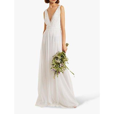 French Connection Estelle Embellished V-Neck Dress, White