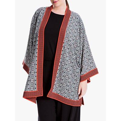 Max Studio + Printed Kimono, Black/Off White