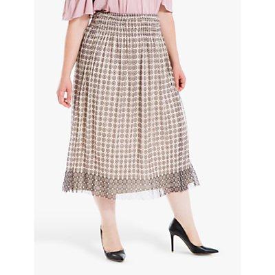 Max Studio + Mesh Circle Print Skirt, Cream/Blush