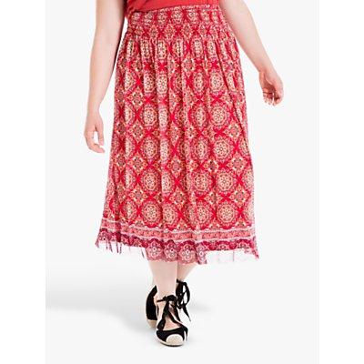 Max Studio + Mesh Printed Skirt, Red