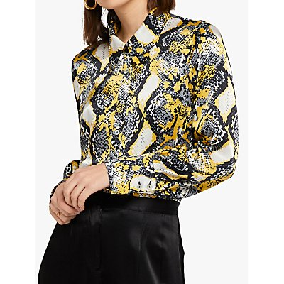 Ghost Hallie Skyla Snakeskin Blouse, Yellow/Multi
