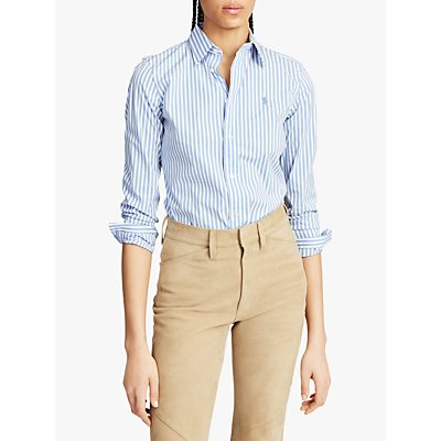Polo Ralph Lauren Stretch Slim Fit Striped Shirt, White/Blue