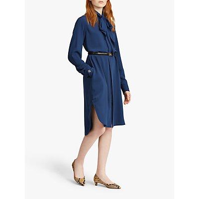 Polo Ralph Lauren Tie Neck Twill Shirt Dress, True Ocean