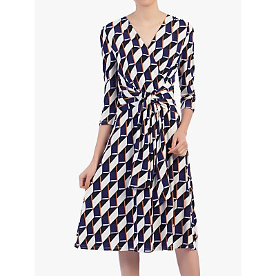 Jolie Moi Wrap Front Belted Dress, Navy/Multi
