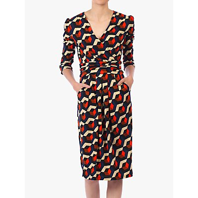Jolie Moi Print Wrap Front Dress, Navy/Multi