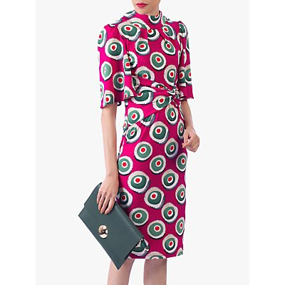 Jolie Moi Abstract Print High Neck Midi Dress, Pink Multi