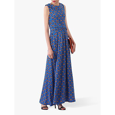 Jolie Moi Print Roll Collar Dress, Blue/Multi
