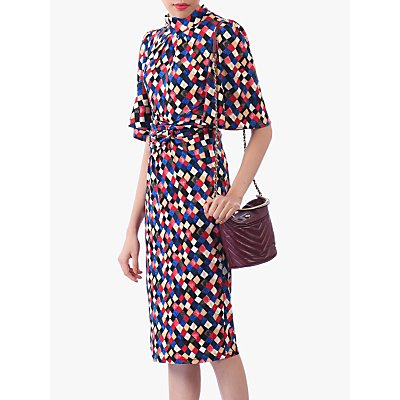 Jolie Moi Diamond Print High Neck Midi Dress, Multi