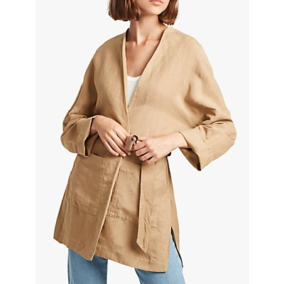 French Connection Ava Tie Waist Jacket, Wet Sand
