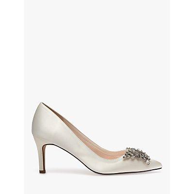 Rainbow Club Amara Stiletto Heel Court Shoes, Ivory Satin