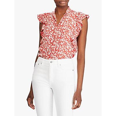 Lauren Ralph Lauren Floral Print Top, Red/Mascarpone Cream