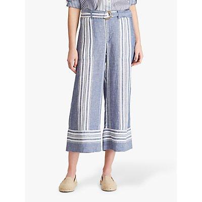 Lauren Ralph Lauren Ketzyn Wide Leg Linen Trousers, Navy/White