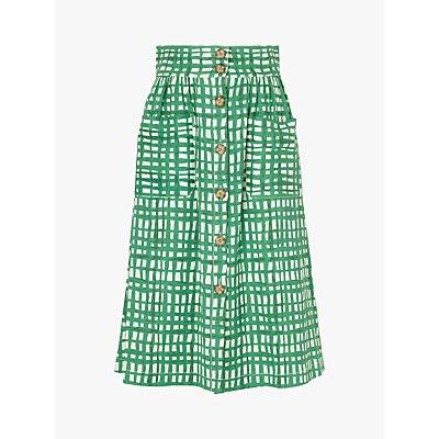 L.K.Bennett Anelin Check Midi Skirt, Green/White