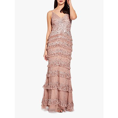 Adrianna Papell Bead Mesh Maxi Dress, Rose Gold